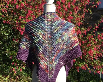 Hand Knitted Festival Shawl /Boho Shawl Made in Cornwall