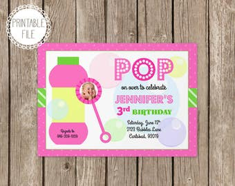 Bubbles Birthday Party Invitation - Personalized