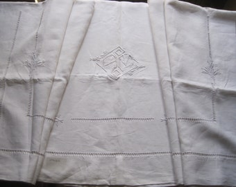 Antique French pure linen sheet, hand stitched.  Lovely fabric for a curtain, bedcover, projects