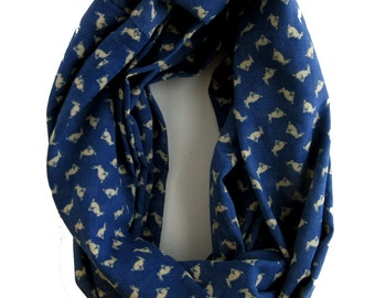 Blue and White Infinity Scarf - Loop scarf - Cotton Scarves - White Bunny