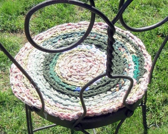 "rag rug chair pads Set of 2 round, crochet ""braided"" chairpads, boho chic, shabby chic, at home on the porch #3"