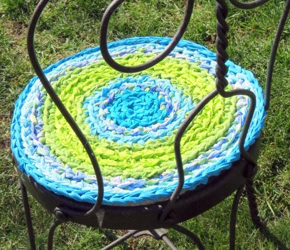 Rag Rug Stool: Rag Rug Chair Pads Set Of 2 Round Crochet Braided