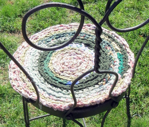 Rag Rug Chair Pads Set Of 2 Round Crochet Braided