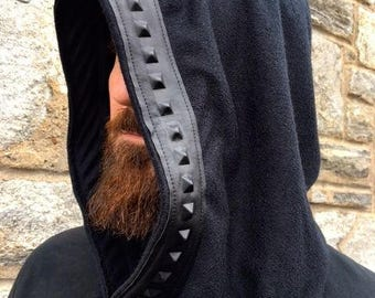 """NEW The """"Dungeon Master"""" Cowl Hood with Faux/Vegan Leather Trim by Opal Moon Designs (Unisex/ Men's/ One Size)"""