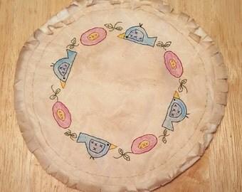 Primitive 'Birds and Blooms' Candle Mat ~~ Spring ~~ Home Decor  ~~ FAAP ~~ OFG Team ~~ Bridal Gift  ~~ Prim Nursery Decor ~~ Housewarming