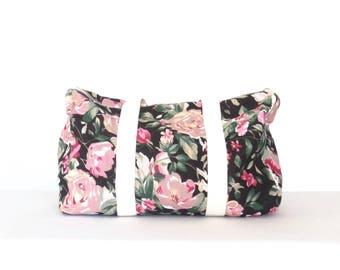 Vintage Weekender Bag * Floral Duffel Bag * 80s Tote Bag