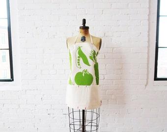 Green Apron, Adjustable, Vegetable, Veggies, Full Length, tomato, peas, carrot hand printed on canvas