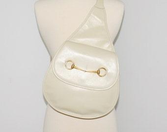 GUCCI Vintage Backpack Cream Leather Horsebit Sling Bag - AUTHENTIC -