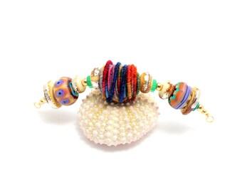 Tribal Bead Necklace.  Artisan Pendant Necklace. Colorful Tribal Beads. Fiber Bead. Boho Tribal Southwest Necklace. Glass Bead Jewelry.
