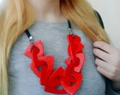 Chunky Red Necklace, Triangle Link Necklace, Geometric Necklace, Chain Link Necklace