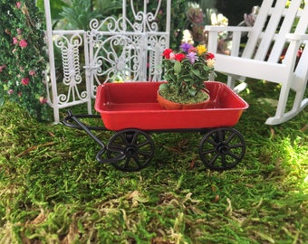 Miniature Red Wagon, Metal Wagon, Style 4196, Dollhouse Miniature, 1:12 Scale, Fairy Garden Accessory, Miniature Garden Decor