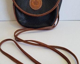 Vintage Small Black All Weather Leather Delane Canada Crossbody Belt Purse