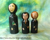RESERVED FOR LINDA: Made to Order Custom Kokeshi Snape, Dumbledore, and Harry Dolls - Tiny 2 Inch or Smaller Wooden Figures Hand-Painted
