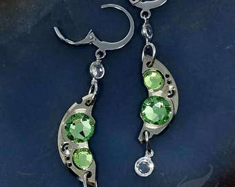 Steampunk Earrings Gearrings ~ Silver Watch Parts, Peridot Rhinestones w/Clear Channel Set Drops, Stainless Steel Lever Back Earrings #E0932