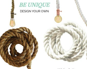Rope Pendant Light- White Cotton Modern Industrial Manila Rope Rustic Pendant Lighting Hardwired or Plug In Swag Light Industrial Pendant