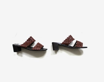 SALE Vintage Leather Slides 8 / Brown Leather Sandals / Slip On Sandals / Leather Mules