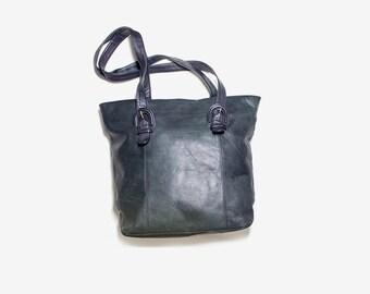 Vintage Tote Bag / Black Leather Tote / Leather Tote Bag / Leather Tote Purse / Black Leather Bag / Oversized Purse