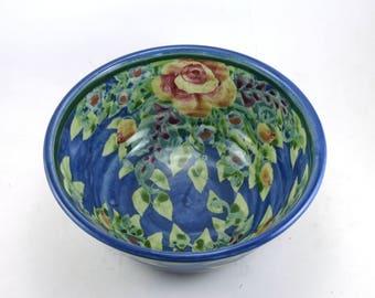 "Blue Ceramic Bowl - 7"" Porcelain Serving Bowl with Roses- Handmade One of a Kind"