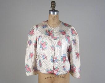 1940s quilted bed jacket • vintage 40s lingerie • floral bed coat