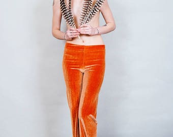 Hells Bells - Copper colored velvet bell bottoms wide leg pants - Gold orange boho rock