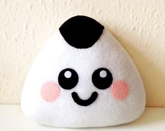 Onigiri Plush Cushion, sushi plushie, happy onigiri cushion, cute home decor, food plush cushion, sushi plush cushion, kawaii plush cushion