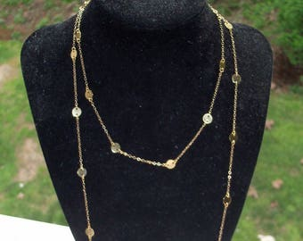 14K Gold Disc Necklace, 30 34 38 44 inch 6mm Disc, Cougar Town Inspired Worn by Jules Cobb, Courtney Cox, Wrapped Double Jewelry Chain