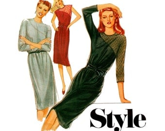 Style 2930 Womens Straight Dress 80s Vintage Sewing Pattern Size 10 Bust 32 1/2 inches UNCUT Factory Folded