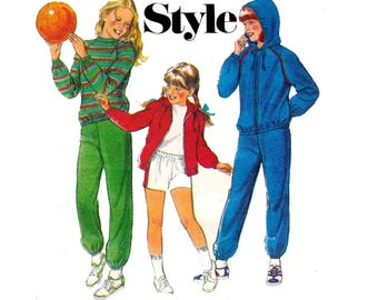 Style 3230 Girls Tracksuit Jogging Suit with Optional Hood 80s Vintage Sewing Pattern Size 8 Chest 27 inches