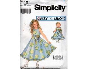 "Simplicity 7110 DAISY KINGDOM Girls Full Skirt Party Dress Pattern Bonus 18"" Matching Doll Dress Pattern OOP Size 3 4 5 6 Uncut Factory Fold"