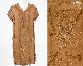1920s Dress, 20s Embroidered Dress, Downton Abbey Dress, Flapper Dress, 2pc 1920s Brown Silk Dress