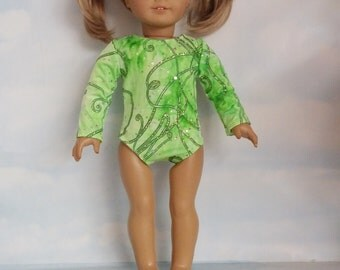 18 inch doll clothes - Lime Green Glitter Gymnastic Leotard - FREE SHIPPING