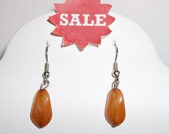 Vintage Costume Jewelry Earrings Drop Dangle Orange and Silver Simple Design Boho Bohemian For Her Pierced Funky Style On Sale wvluckygirl