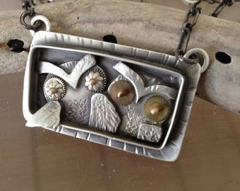 2 Owlets necklace, sterling, etched metal, gold & watch parts