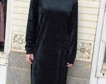 90s Green Velvet Dress Maxi Long Goth Grunge M