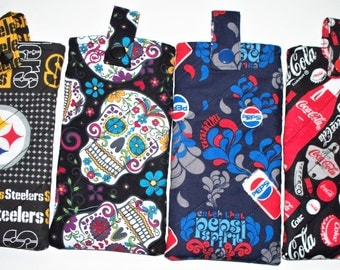 Quilted Eyeglass Case,Your Choice:Pepsi Cola,Black Sugar Skulls or Red Sugar Skull,Eyeglass Pouch,Pencil Pouch