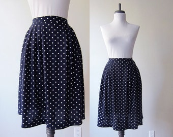 Vintage 1990s Skirt / Navy Blue Rayon Polka Dot A-Line Skirt / Size Large / Size Extra Large