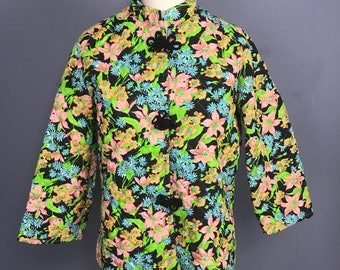 70s Asian style quilted floral jacket medium WT97614
