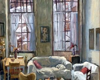 Studio Loft, Winter Light. Large Original Oil on Canvas, 24x36 Interior Painting, Fine Art, Signed Original Oil Painting