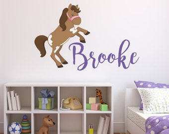 Horse Wall Decals - Kids Name Wall Decal - Horse and Name Wall Decals - Custom Name Decal - Pony Decals - Baby Shower Decal Gift