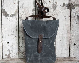 Waxed Canvas Hunter Satchel in Slate by Peg and Awl, Waxed Canvas Crossbody Bag for Adventurers, Waxed Canvas Bag, Purse, Travel Bag, Unisex