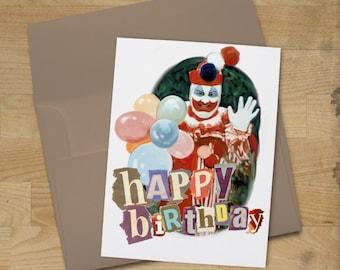 John Wayne Gacy Clown Birthday Card - True Crime Fan Greeting Card