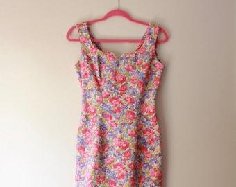 Stunning 90's Paris Blues Hot Pink Floral Print Jean Dress Medium