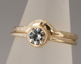 Moissanite Engagement and Contour Wedding Band Set - half carat dimamond alternative wedding set in 14k yellow, white or rose gold
