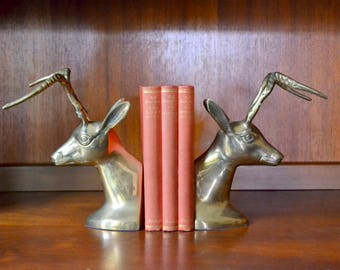 vintage hollywood regency brass antelope bookends / vintage office decor / midcentury library decor