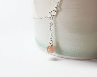 Anklet - dainty sterling silver anklet - coral jade - semi precious stone - boho chic - delicate ankle bracelet - silver 925