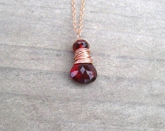 Rose Gold Garnet Necklace, Wire Wrapped, Mozambique Garnet, January Birthstone, Rose Gold Jewelry, Garnet Pendant