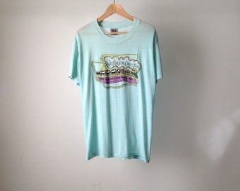 vintage WASHINGTON STATE centennial statehood SUPER thin and soft faded extra large slouchy summer t-shirt