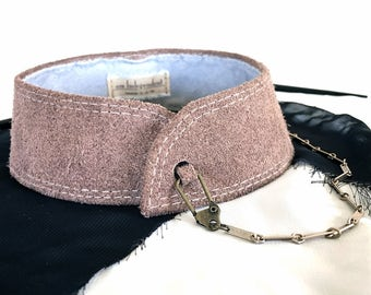 Women's Chain Choker Collar Necklace in Dark Taupe Suede Leather with Vintage Antique Goldtone Chain and Hook Closure