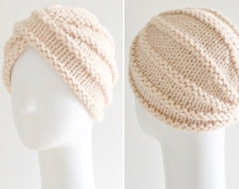 Knit wool turban hat chunky turban hat in ivory
