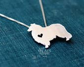Collie dog necklace sterling silver, tiny silver hand cut dog pendant with heart